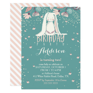 White Bunny & Flowers | Pink & Teal Kids Birthday 13 Cm X 18 Cm Invitation Card