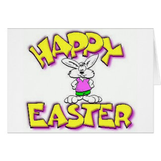 White Bunny Happy Easter Greeting Card