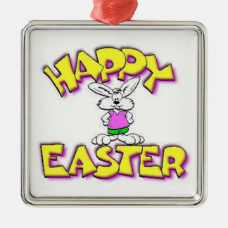 White Bunny Happy Easter Silver-Colored Square Decoration