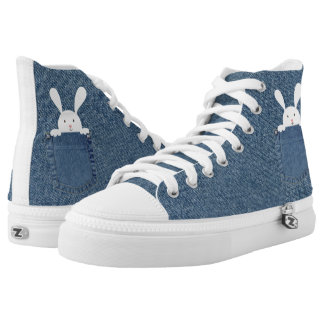 White Bunny In Faux Denim Pocket Printed Shoes