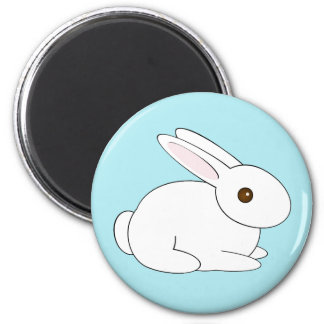 White Bunny Magnet with Customizable Background