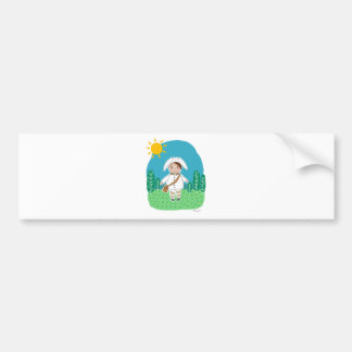 White bunny on the woods bumper sticker