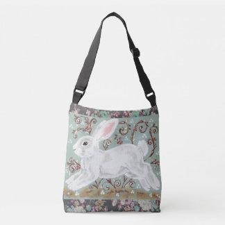 White Bunny Rabbit Floral Aqua Cross Body Tote Bag
