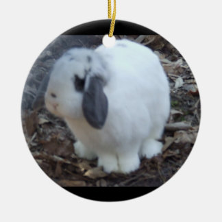 White Bunny Rabbit Happy Easter Round Ceramic Decoration