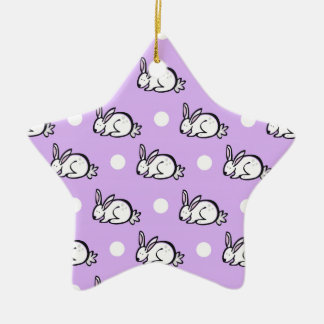 White Bunny Rabbit Lavender Purple Polka Dots Christmas Ornament