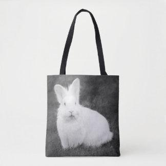 White bunny rabbit tote bag