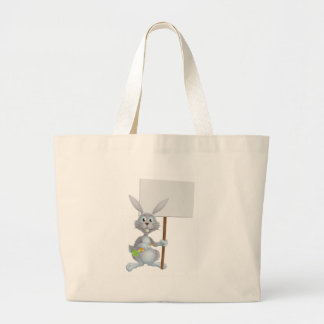 White bunny rabbit with carrot sign bag