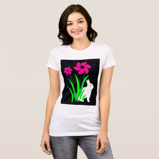 White Bunny with Flowers by Julie Everhart T-Shirt