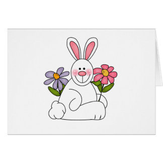 White Bunny with Flowers Cards