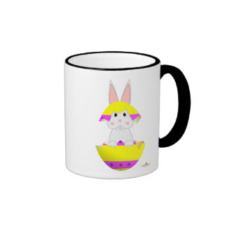 White Bunny Yellow Decorated Easter Egg Coffee Mugs