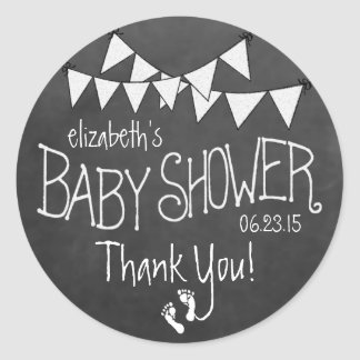 White Bunting and White Chalkboard Baby Shower Round Sticker