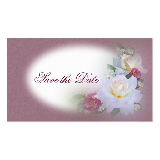 White & Burgandy Roses - Save the Date Business Cards