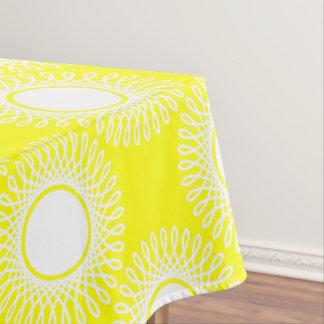 White Bursts on Sunshine Yellow Tablecloth