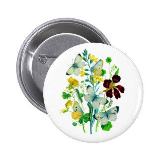 White Butterflies, Nasturtiums and WIldflowers Pins