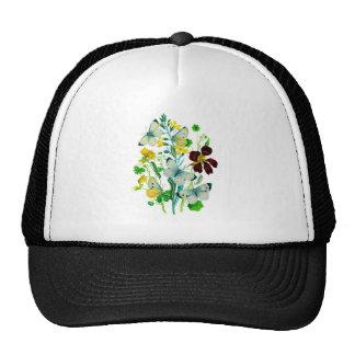 White Butterflies, Nasturtiums and WIldflowers Mesh Hats