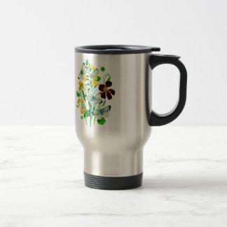 White Butterflies, Nasturtiums and WIldflowers Mug