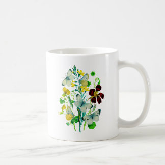 White Butterflies, Nasturtiums and WIldflowers Coffee Mug
