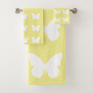 White Butterflies on Butter Yellow Bath Towel Set