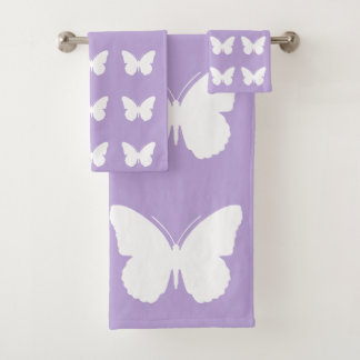 White Butterflies on Cottage Lavender Bath Towel Set