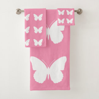 White Butterflies on Happy Pink Bath Towel Set