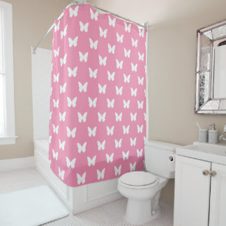 White Butterflies on Happy Pink Shower Curtain