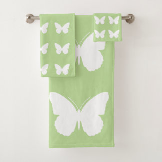 White Butterflies on Mint Green Bath Towel Set