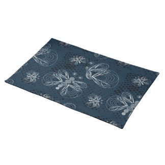 White butterflies on navy blue grunge background place mat