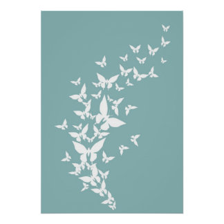 White Butterflies on Turquoise Poster