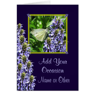 White Butterfly Custom Occasion Greeting Card