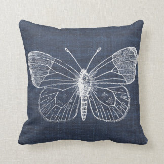 White Butterfly on Indigo Pillow 2