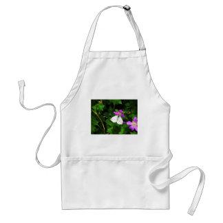 White Butterfly on Purple Flowers Standard Apron