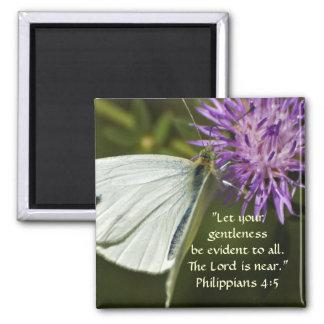 White Butterfly on Purple Wildflower Magnet