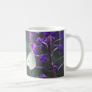 White Butterfly on Purple Wildflower Coffee Mugs