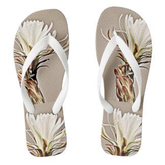 White Cactus Bloom on Women's Flip Flops