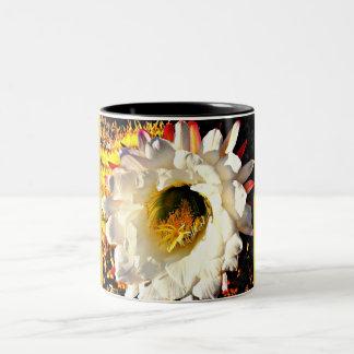 White Cactus Bloom Two Tone Coffee Mug