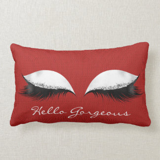 White Caliente Red Makeup Lashes Hello Gorgeous Lumbar Cushion