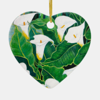 White Calla Lilies Ceramic Heart Decoration