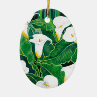 White Calla Lilies Ceramic Oval Decoration