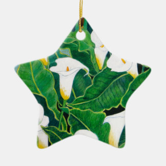 White Calla Lilies Ceramic Star Decoration