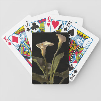 White Calla Lilies On A Black Background Bicycle Playing Cards
