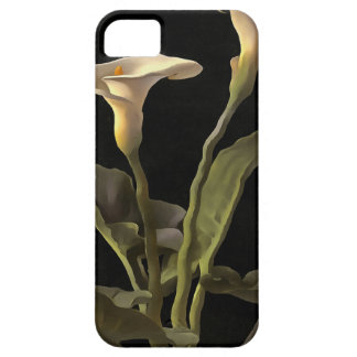 White Calla Lilies On A Black Background iPhone 5 Case
