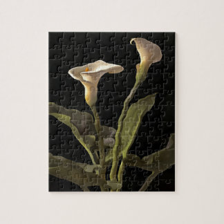 White Calla Lilies On A Black Background Jigsaw Puzzle