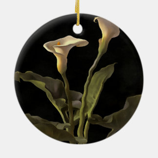 White Calla Lilies On A Black Background Round Ceramic Decoration