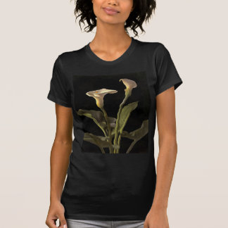 White Calla Lilies On A Black Background T-Shirt