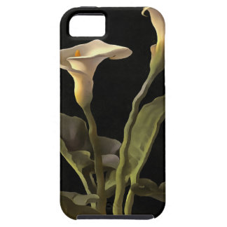 White Calla Lilies On A Black Background Tough iPhone 5 Case