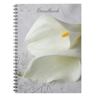 White calla lilies on linen guestbook spiral notebook