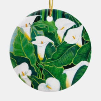 White Calla Lilies Round Ceramic Decoration