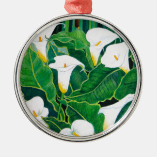 White Calla Lilies Silver-Colored Round Decoration