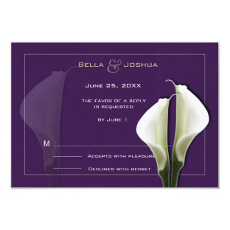 White Calla Lillies RSVP on Purple Card
