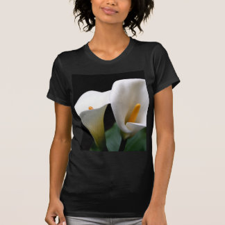White Calla Lily Flower Ladies Black Fitted Shirt
